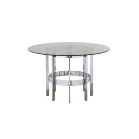 Circular Chrome Merrow Dining Table with Glass Top
