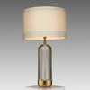 Crystal & Antique Brass Based 'balint' Table Lamp With White Band Drum Shade