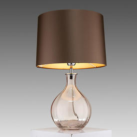 "Antique Rose Pink Bulbous Glass ""Paris"" Table Lamp with Bronze Drum Shade"
