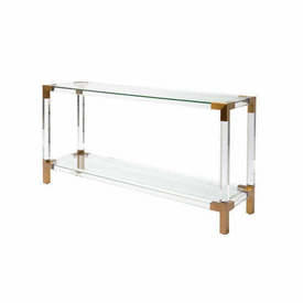 "Perspex & Brass Corner ""Royalton"" Console Table with Glass Top & Shelf"
