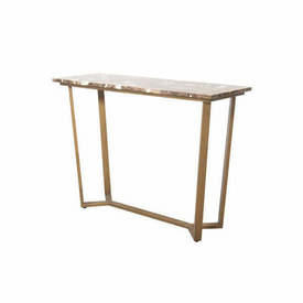 Aged Gold ''Emperor'' Console Table with Brown Marble Top