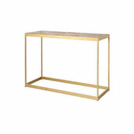 Brass Console Table with Wooden Parquet Top