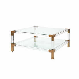 "Square Perspex & Brass Corner ""Royalton"" Coffee Table with Glass Top & Shelf"
