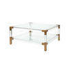 Square Perspex & Brass Corner 'royalton' Coffee Table With Glass Top &  Shelf