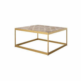 Square Brass Coffee Table with Wooden Parquet Top