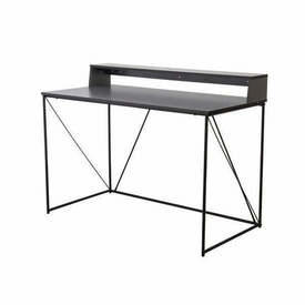 Grey Home Office Writing Desk on Black Frame