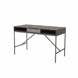 "Grey Steel ""Illusion"" Desk with 2 Tone Oak Parquet Top"
