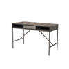 Grey Steel 'illusion' Desk With 2 Tone Oak Parquet Top
