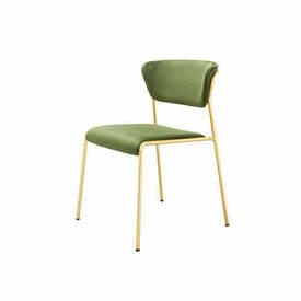 "Green Velvet ""Lisa"" Dining Chair on Gold Frame"