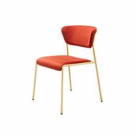 "Brick Red Velvet ""Lisa"" Dining Chair on Gold Frame"