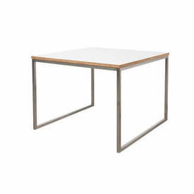 Square White Top & Steel ''Como'' Lamp Table