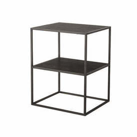 "Grey Steel & Black Wooden 2 Tier ""Illusion"" Lamp Table"