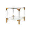 Square Perspex & Brass 'royalton' Lamp Table With Glass Top & Shelf