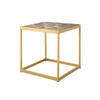 Square Brass Lamp Table With Wooden Parquet Top