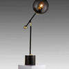 Black & Gold 'orbit' Table Lamp On Marble Base With Smoked Glass Orb Shade