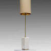 White Marble Block & Brass Rod Lindau Table Lamp With Beige Shade / Gold Inner