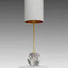 Clear Glass Crystal Base & Brass Manon Rod Table Lamp With Cream Shade