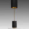 Black Marble Block & Brass Rod Lindau Table Lamp With Grey Shade / Gold Inner