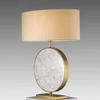 Circular White Marble Valery Table Lamp With Brass Trim & Cream Shade