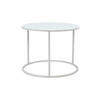 Tall Circ White Frame 'ile' Lamp Table With White Glass Top (47 Cm H X 46 Cm) (Also Available In 2 Other Sizes)