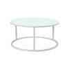 Low Circ White Frame 'ile' Lamp Table With White Glass Top (23 Cm H X 36 Cm) (Also Available In 2 Other Sizes)