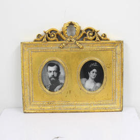20cm X 22cm Gilded Double Photo Frame With Frieze Top  (Y)