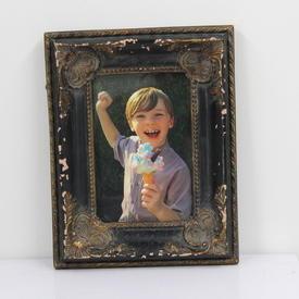 24cm X 17cm Black And Gilt Ornate Photo Frame  (Y)