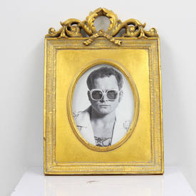 33cm X 23cm Gilded Oval Photo Frame With Carved Frieze  (Y)