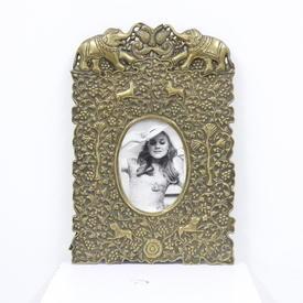 39cm X 26cm Brass Swirl Animal Embossed Circular Photo Frame  (Y)