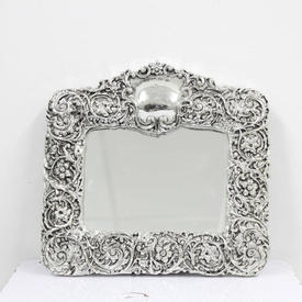 23cm  x  24cm Silver Photo Frame with Rose Pattern