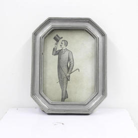 23cm  x  18cm Pewter Octagonal Photo Frame