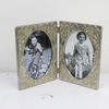 14cm X 21cm Silver Embossed Double Photo Frame Oval Inserts  (Y)