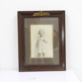 24cm X 19cm  Mahogany Photo Frame With Brass Crest  (Y)