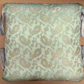 """Floor Cushion 24"""" x 24"""" Mint Paisley Organza / Tassels"""