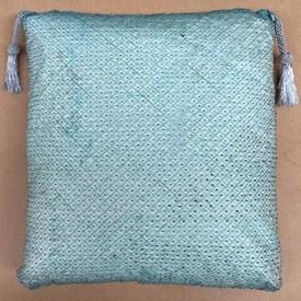 "Floor Cushion 24"" x 24"" Aqua Metallic Lattice Silk Organza / Tassel Corners"