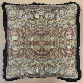 "Cushion 16"" x 16"" Tan Shredded Indian Patt Weave / Frilled"