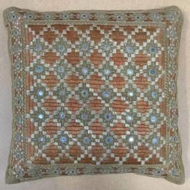 "Cushion 15"" x 15"" Chestnut Indian Emb Diamonds / Mirrored"