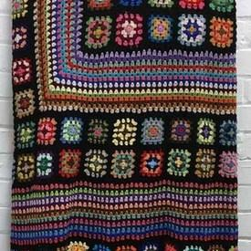Bed Cover (K) Black / Bright Multi Squares Crochet / Valance