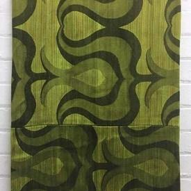 Bed Cover (S) Lime Large Tulip Scroll Silky Slub