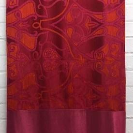 Bed Cover (Q) Magenta Large Scroll Silky Damask