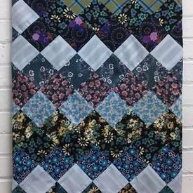 Patchwork Bed Cover (D) Navy / Light Blues Tiny Florals Diamond Cotton / Border