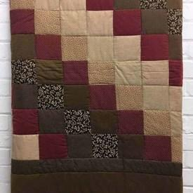 Patchwork Bed Cover (Q) Chestnut Tiny Prints Squares Cotton / Quilted