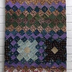 Patchwork Bed Cover 9' x 8' Lilac Tiny Floral Diamonds Indian Cotton