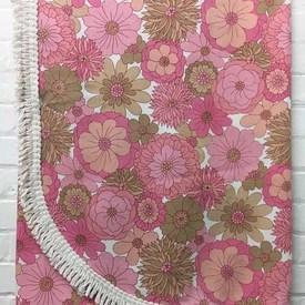 Bed Cover (S) Pink St Michael Floral Print Weave / Fringe