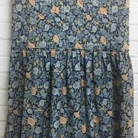 Fitted Bed Cover (S) Navy All-Over Floral / Quilted / Valance