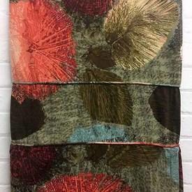 Bed Cover (S) Olive / Burgundy Large Leaf Print Linen