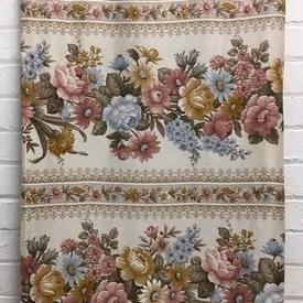 Bed Cover (D) Dusky Floral Garland Stripe Sateen