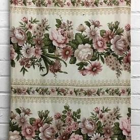 Bed Cover (D) Dusky / Khaki Floral Garland Stripe Sateen