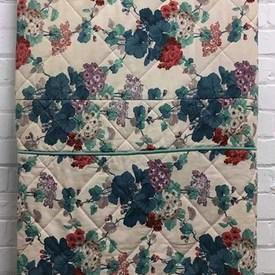 Fitted Bed Cover (D) Teal Floral Cotton Quilted