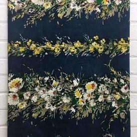 Bed Cover (D 4') Navy Floral Stripe